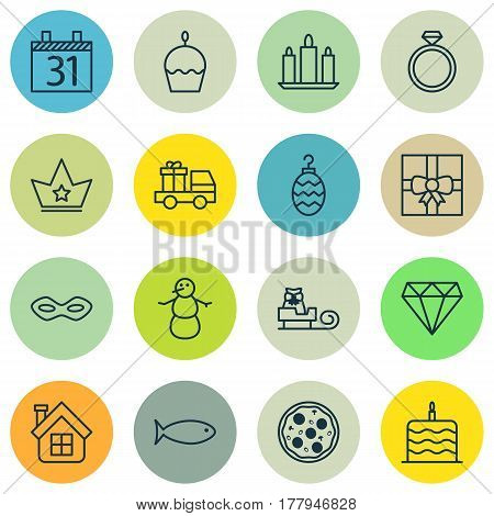 Set Of 16 Celebration Icons. Includes Date, Brilliant, Christmas Toy And Other Symbols. Beautiful Design Elements.