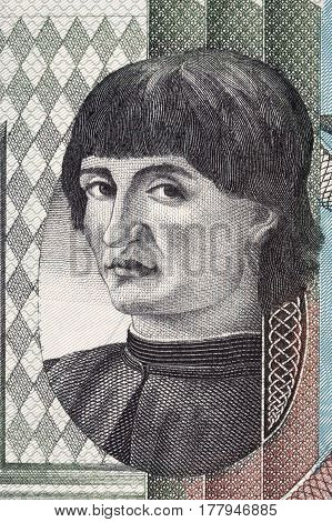 Niccolo Machiavelli portrait from Italian money - lire