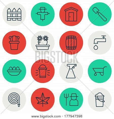 Set Of 16 Holticulture Icons. Includes Shovel, Bucket, Farmhouse And Other Symbols. Beautiful Design Elements.