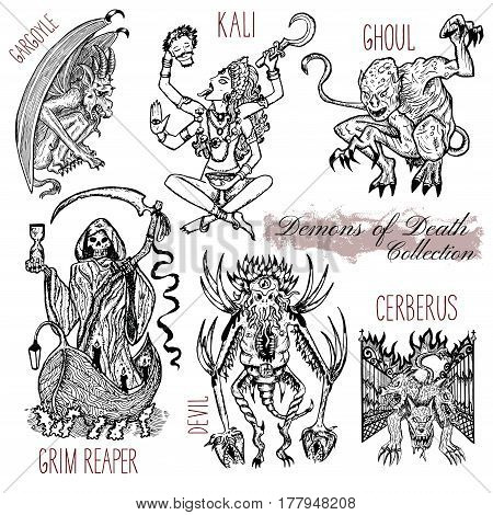 Hand drawn set with demons of death concept isolated on white. Graphic vector illustration. Engraved line art drawings of grim reaper, Kali goddess, cerberus and other monsters.