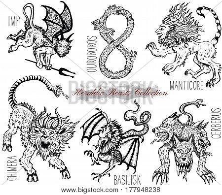 Hand drawn set with heraldic beasts and mythical monsters isolated on white. Graphic vector illustrations. Engraved line art drawing of imp, ouroboros, chimera, basilisk and others