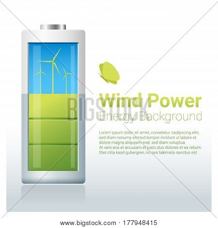 Green energy concept background with wind turbine charging battery , vector , illustration