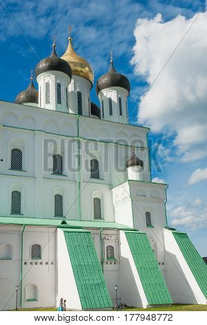 Medieval Trinity cathedral, main landmark in Pskov Kremlin, Russia