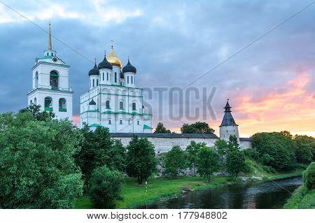 Ancient Pskov Kremlin and river Pskova at twilight, Russia