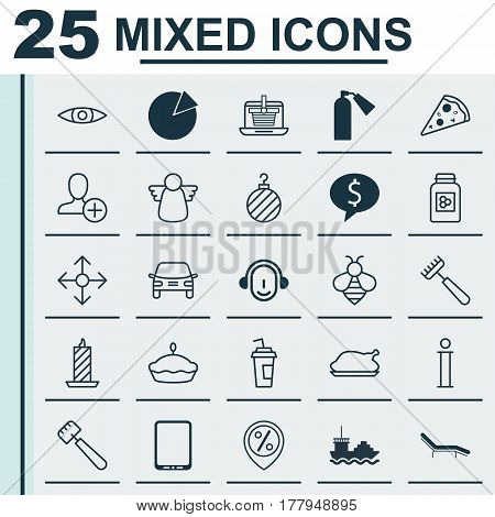 Set Of 25 Universal Editable Icons. Can Be Used For Web, Mobile And App Design. Includes Elements Such As Business Deal, Chicken Fry, Fire Wax And More.