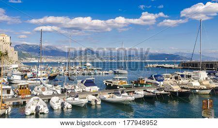 Cetara, Italy - October 2, 2013: Cetara small pier village on the Amalfi Coast, One Of Many marinas and fishermen in Amalfi Coast