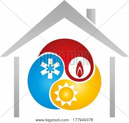 House and three drops, plumber and installer logo