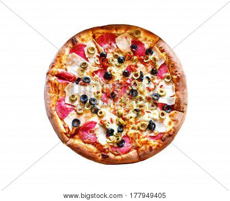 Whole Pizza With Ham, Green And Black Olives And Cheese On Plate Detail. Isolated On White