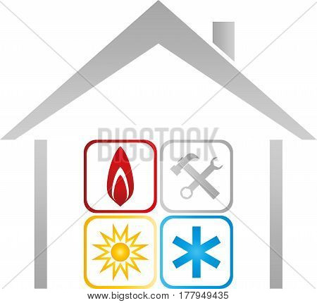 House and sign, plumber and Installers logo