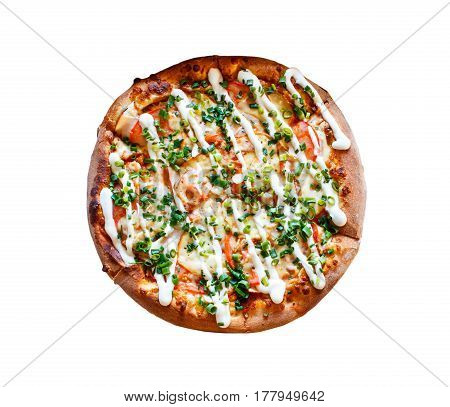 Whole Pizza With Mayonnaise, Tomatoes And Green Chive Isolated On White Background