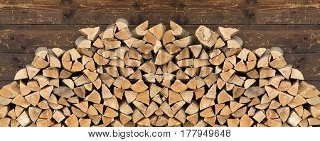 The pile of firewood close up image