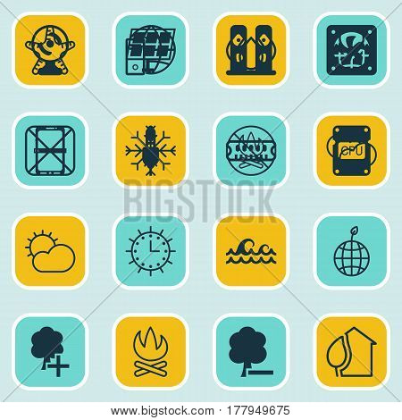 Set Of 16 Eco Icons. Includes Aqua, Clear Climate, Delete Woods And Other Symbols. Beautiful Design Elements.