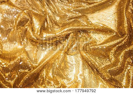 Colorful, luxurious golden sequins background, Gold sparkle glitter background