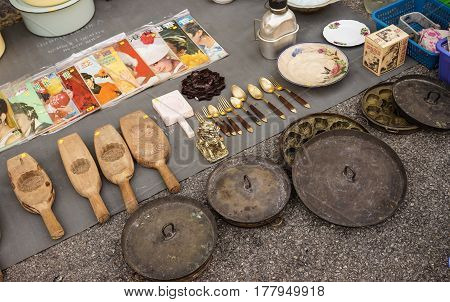 Selling Antique At Street Market