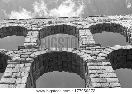 Segovia (Castilla y Leon Spain): the Roman aqueduct Unesco World Heritage Site. Black and white
