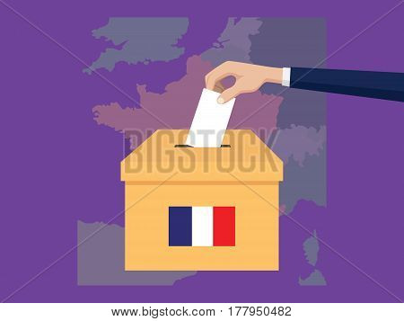 france election vote concept illustration with people voter hand gives votes insert to boxes election with long shadow flat style vector