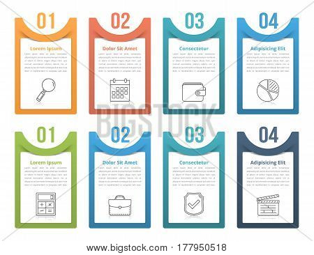 Set of infographic elements with numbers line icons and place for your text, vector eps10 illustration