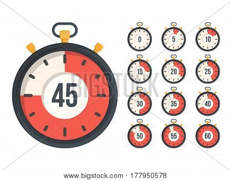 Stopwatch with different time, flat design, vector eps10 illustration