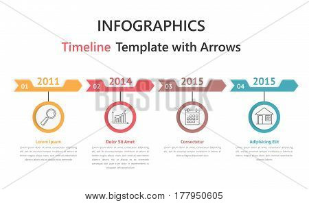 Timelie infographics template with arrows, vector eps10 illustration