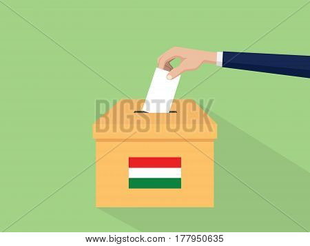 hungary election vote concept illustration with people voter hand gives votes insert to boxes election with long shadow flat style vector