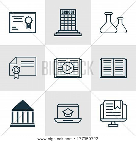 Set Of 9 School Icons. Includes Taped Book, Certificate, Chemical And Other Symbols. Beautiful Design Elements.