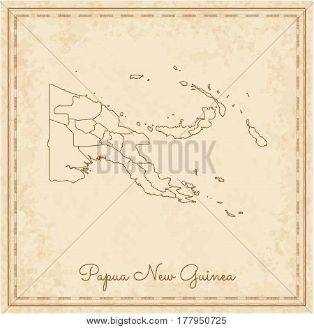Papua New Guinea Region Map: Stilyzed Old Pirate Parchment Imitation. Detailed Map Of Papua New Guin
