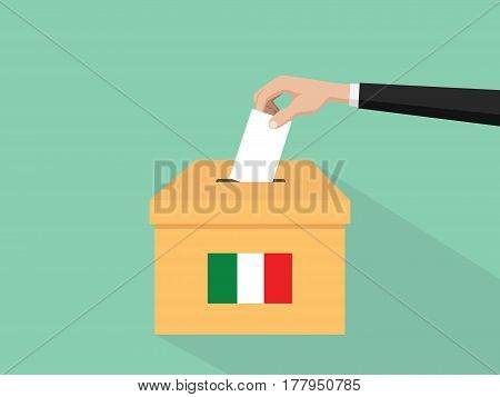 itlay election vote concept illustration with people voter hand gives votes insert to boxes election with long shadow flat style vector