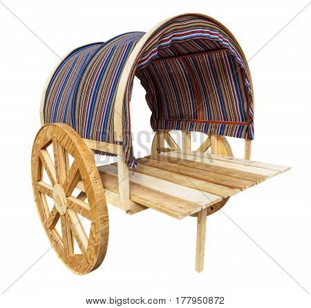 Wooden wagon isolated on white with Clipping Path
