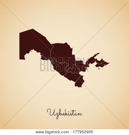 Uzbekistan Region Map: Retro Style Brown Outline On Old Paper Background. Detailed Map Of Uzbekistan