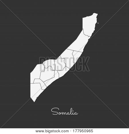Somalia Region Map: White Outline On Grey Background. Detailed Map Of Somalia Regions. Vector Illust