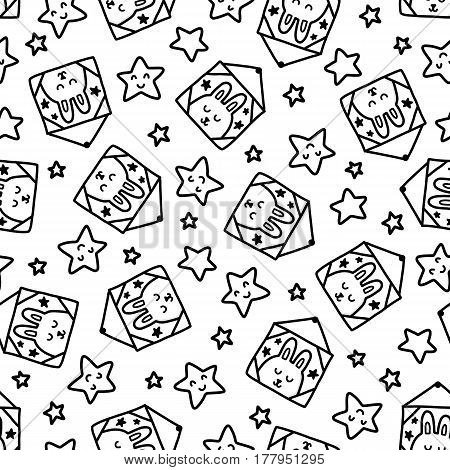 Doodles cute seamless pattern. Black vector background. Illustration with rabbit and stars. Design for T-shirt, textile and prints.