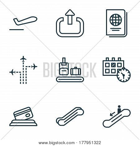 Set Of 9 Traveling Icons. Includes Flight Path, Briefcase Scanner, Escalator Down And Other Symbols. Beautiful Design Elements.