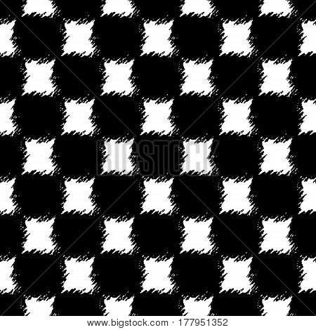 Seamless chess pattern. Hand drawn squares with rough edges. Abstract geometric monochrome background. Can be printed on textile, wrapping paper, greeting card, etc. Vector illustration. EPS10