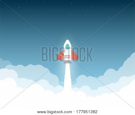 Launched rocket. Clouds and sky stars. Rocket flying through clouds to space. White exhaust and glowing. New project or business breakthrough. Cartoon style flat vector illustration.