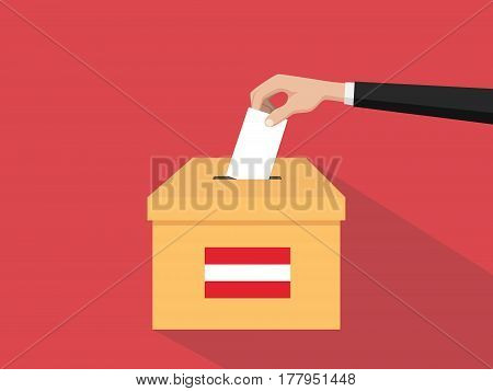 austria election vote concept illustration with people voter hand gives votes insert to boxes election with long shadow flat style vector poster