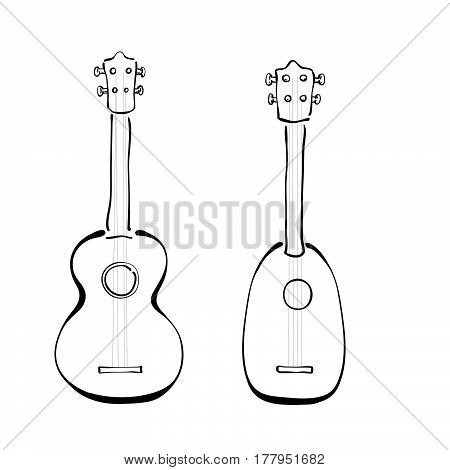 Set Of Hand Drawn Ukuleles In Sketchy Style