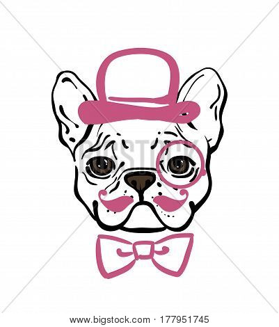 French Bulldog With A Mustache  In The Hat And  Tie