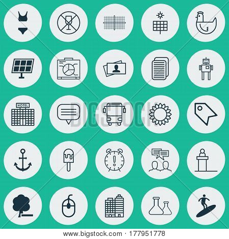 Set Of 25 Universal Editable Icons. Can Be Used For Web, Mobile And App Design. Includes Elements Such As Sun Power, Resort Development, Rostrum And More.