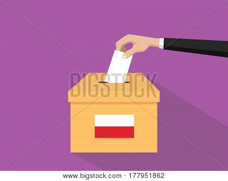 poland vote election concept illustration with people voter hand gives votes insert to boxes election with long shadow flat style vector