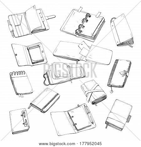 Notebook, notepad, planner, organizer, sketchbook hand drawn set Collection of contour illustrations