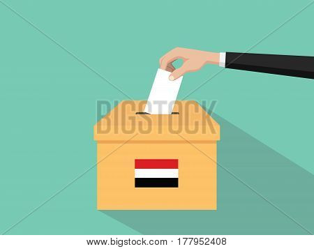yemen vote election concept illustration with people voter hand gives votes insert to boxes election with long shadow flat style vector