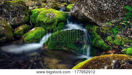 Mountain Creek With Stones With Clear Pure Water.