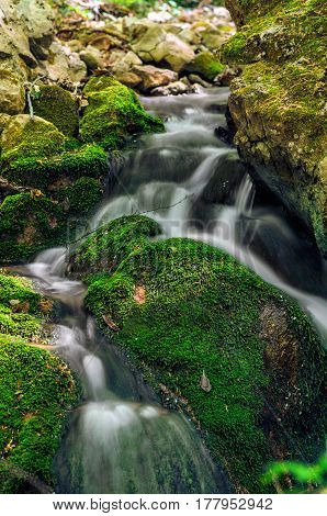 Mountain Fast Stream With Stones With Clear Pure Water.