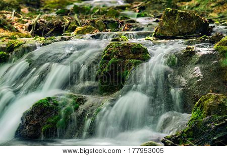 Mountain River With Stones With Pure Thawed Water.