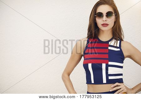 Summer time Fashionable lady in cool clothes portrait