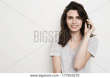 Young Beautiful brunette babe in studio shot