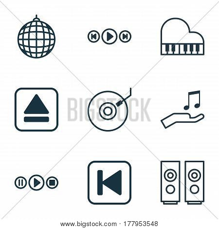 Set Of 9 Multimedia Icons. Includes Extract Device, Dance Club, Gramophone And Other Symbols. Beautiful Design Elements.