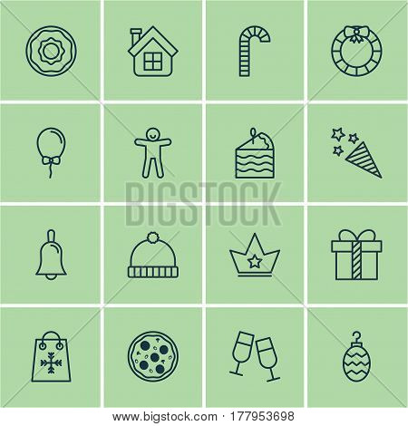 Set Of 16 New Year Icons. Includes Christmas Toy, Trading, Shortcake And Other Symbols. Beautiful Design Elements.