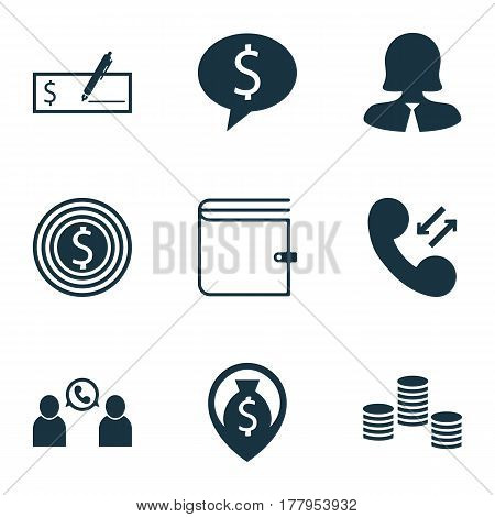 Set Of 9 Human Resources Icons. Includes Money Navigation, Wallet, Business Woman And Other Symbols. Beautiful Design Elements.