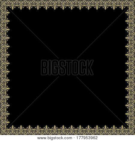 Classic square frame with golden arabesques and orient elements. Abstract fine ornament with place for text